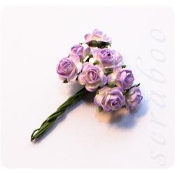 Розы светло-фиолетовые с белым, 10мм