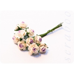 Букетик белых роз с фиолетовой серединкой, 10мм