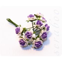 Букетик белых роз с ярко-фиолетовой серединкой, 10мм