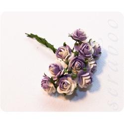 Розы фиолетовые с белым, 10 мм