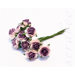 Букетик светло-розовых роз с темно-фиолетовой серединкой, 10мм