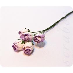 Бутоны бело-фиолетовых роз, 5 шт
