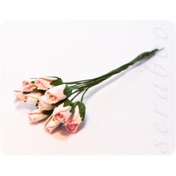 Бутоны бело-розовых роз, 10 шт