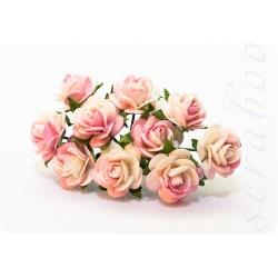 Розы светло-розовые с белым, 10мм