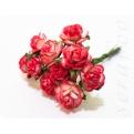 Красно-белые розы, 10мм, 10шт