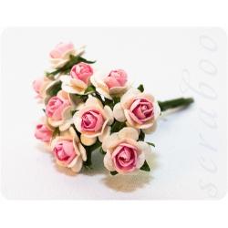 Букетик белых роз с розовой серединкой, 10мм