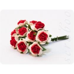Розы белые с красным, 10мм