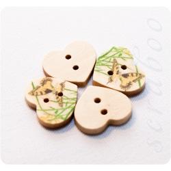 """Набор деревянных пуговиц в форме сердца """"Бабочки"""""""