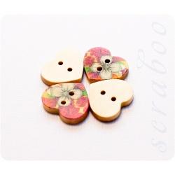 """Набор деревянных пуговиц в форме сердца """"Цветы"""""""