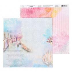 """Двусторонняя бумага """"Венеция"""", I love travels"""