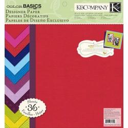 "Набор бумаги K&Company ""Color Basics Vivid"" 30х30 см, 18 листов"