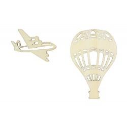 """Лазерная вырубка из дерева """"Воздушный шар и самолет"""""""