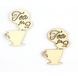 """Лазерная вырубка из дерева """"Tea for 2"""", 2шт"""