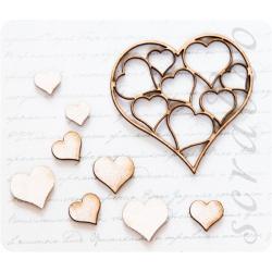 "Фигурки из чипборда ""Сердечки в сердце"""