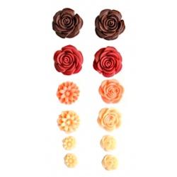 """Набор объемных цветочков """"Красные тона"""", 70Х135мм, самоклеющиеся"""