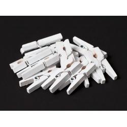 Прищепки деревянные белые 2,5 см, 12 шт