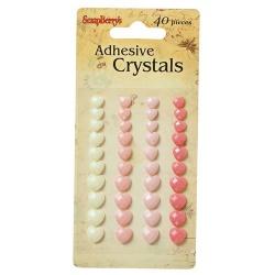 Клеевые граненые сердечки нежные оттенки, 40 шт