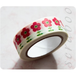 """Бумажный скотч с принтом """"Цветы"""", 10м"""