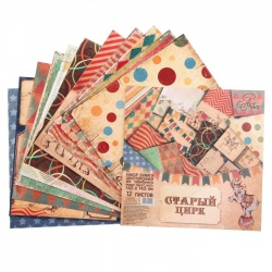 "Набор бумаги ""Старый цирк"" 14,5х14,5 см, 12 листов"