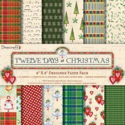 Набор бумаги 15*15 см 12 листов 12 Days of Christmas