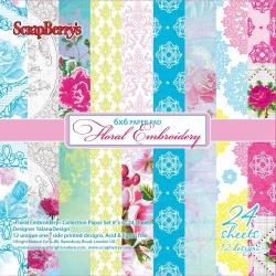 "Набор бумаги ""Цветочная вышивка"" 15х15 см, 24 листа"