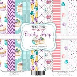 """Набор бумаги """"Candy Shop"""", 30х30см, 10 листов"""