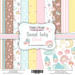 """Набор бумаги """"Sweet baby girl"""", 20x20см"""