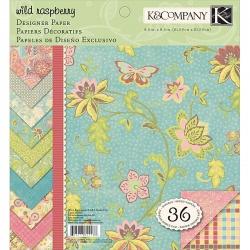 "Набор бумаги K&Company ""Wild Raspberry"" 20х20см, 12 листов"