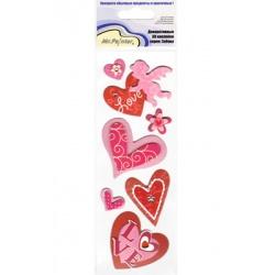 """Наклейки 3D """"Розовые сердца"""""""