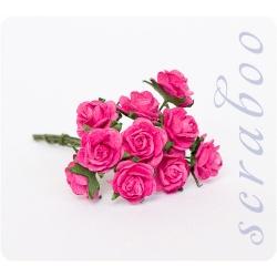 Букетик ярко-розовых роз, 10мм, 10шт