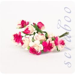 Розы ярко-розовые с белым, 10мм
