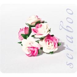 Розы ярко-розовые с белым, 20мм