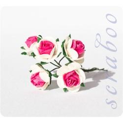Белые розы с ярко-розовой серединкой, 20 мм