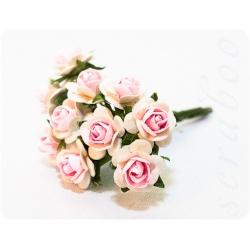 Белые розы со светло-розовой серединкой, 10мм