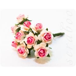 Букет белых роз с розовой серединкой, 10мм
