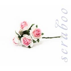 Белые розы с розовой серединкой, 20 мм