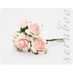 Белые розы с бледно-розовой серединкой, 20 мм, 5 шт