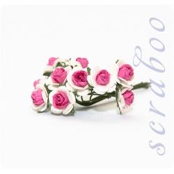 Белые розы с ярко-розовой серединкой, 10 мм, 10 шт