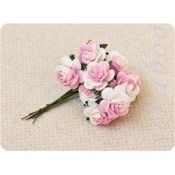 Розы бело-розовые, 20 мм, 10 шт