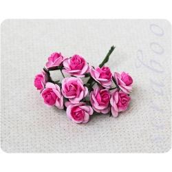 Розовые розы с ярко-розовой серединкой, 20мм, 10 шт