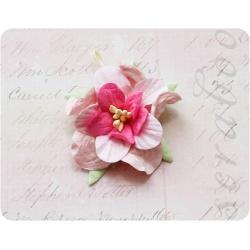 Гардения светло-розовая с розовой серединкой, 45мм, 1шт