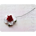Белая роза с красной серединкой, 35 мм, 1шт