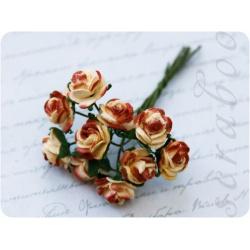 Букет кремово-коричневых роз, 10 мм, 10 шт