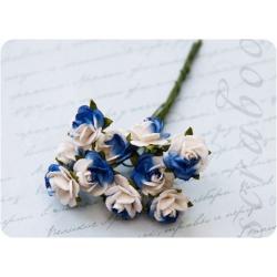Букет бело-синих роз, 10 мм, 10 шт
