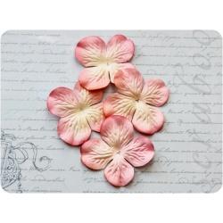 Розовая гортензия с кремовой серединкой, 5 см, 15шт
