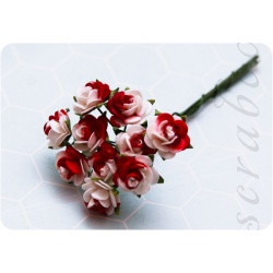 Красно-белые розы, 10мм,10шт