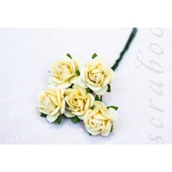 Кремовые розы, 20 мм, 5 шт