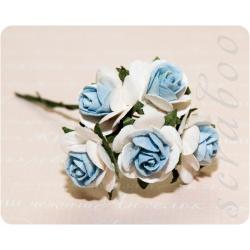 Белые розы с голубой серединкой, 20мм, 5шт