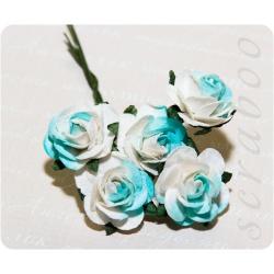 Бело-голубые розы, 20 мм, 5шт