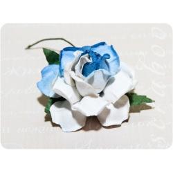 Роза сине-белая, 35 мм, 1шт